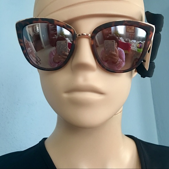 994584ec0f2 NWT England Brown Cat Eye Mirrored Sun Glasses!